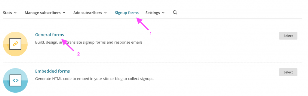 sign up forms MailChimp