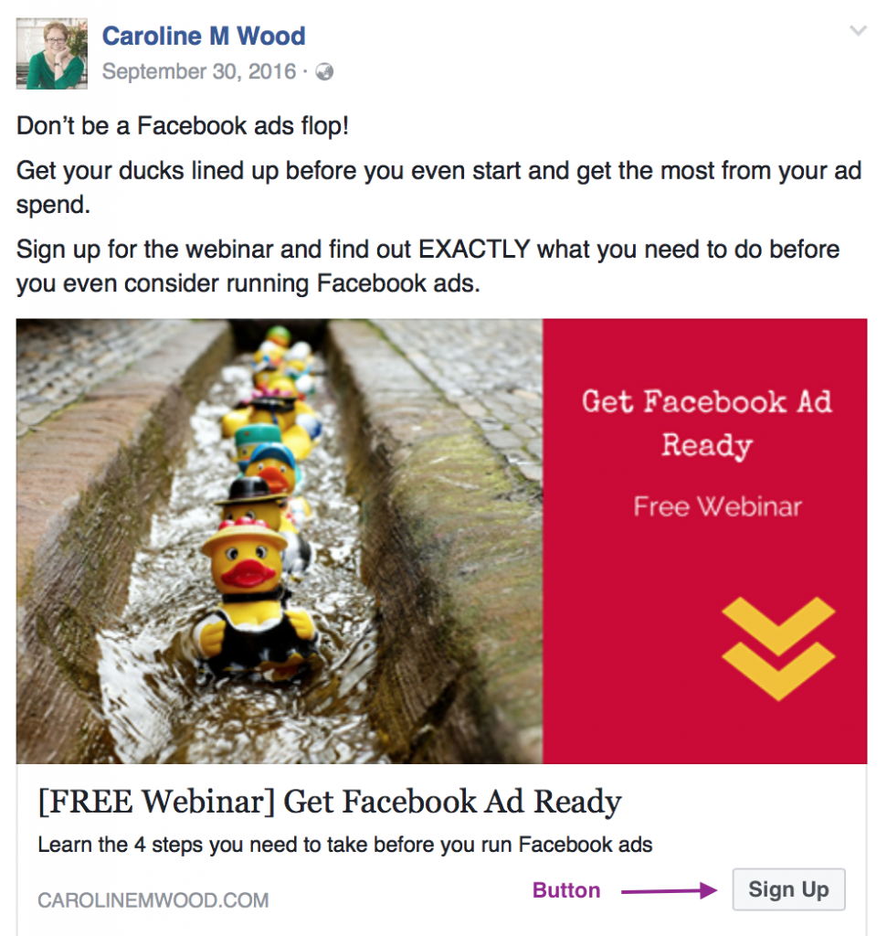 Facebook ad with button